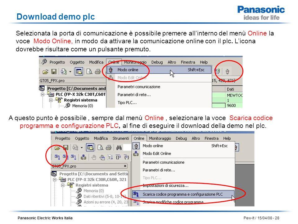 Panasonic Electric Works Italia Pew-It / 15/04/08 - 28 Download demo plc Selezionata la porta di comunicazione è possibile premere allinterno del menù