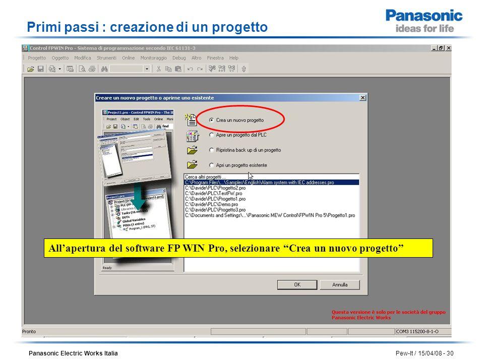 Panasonic Electric Works Italia Pew-It / 15/04/08 - 30 Allapertura del software FP WIN Pro, selezionare Crea un nuovo progetto Primi passi : creazione