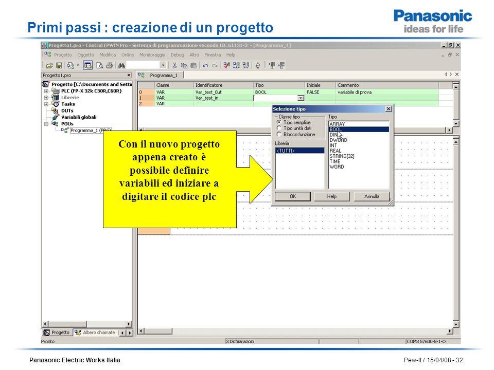 Panasonic Electric Works Italia Pew-It / 15/04/08 - 32 Con il nuovo progetto appena creato è possibile definire variabili ed iniziare a digitare il co