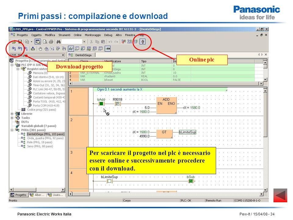 Panasonic Electric Works Italia Pew-It / 15/04/08 - 34 Primi passi : compilazione e download Per scaricare il progetto nel plc è necessario essere onl