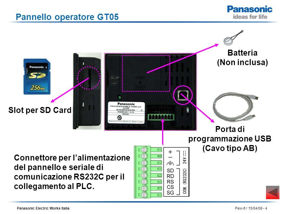 Panasonic Electric Works Italia Pew-It / 15/04/08 - 5 Installazione del software Requisiti del sistema I requisiti minimi del Personal Computer per lutilizzazione del programma GTWIN sono i seguenti: Windows 2000, Windows XP o Windows Vista (32bit) 300MB di spazio libero sul disco fisso Porta USB per programmare il terminale operatore GT05 Installazione del software GTWIN Per installare il GTWIN, inserire il CD Rom nel PC.