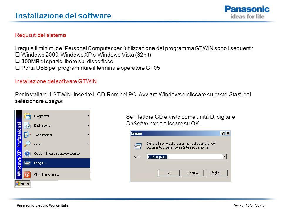 Panasonic Electric Works Italia Pew-It / 15/04/08 - 5 Installazione del software Requisiti del sistema I requisiti minimi del Personal Computer per lu