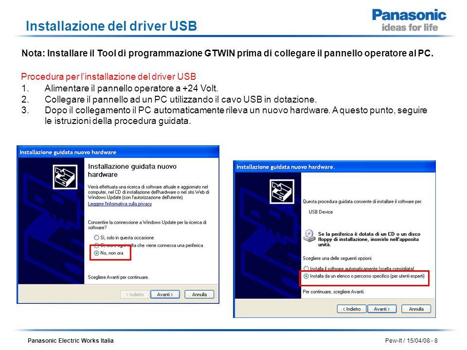 Panasonic Electric Works Italia Pew-It / 15/04/08 - 8 Installazione del driver USB Nota: Installare il Tool di programmazione GTWIN prima di collegare