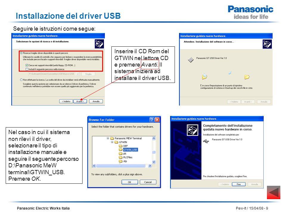 Panasonic Electric Works Italia Pew-It / 15/04/08 - 9 Installazione del driver USB Inserire il CD Rom del GTWIN nel lettore CD e premere Avanti. Il si