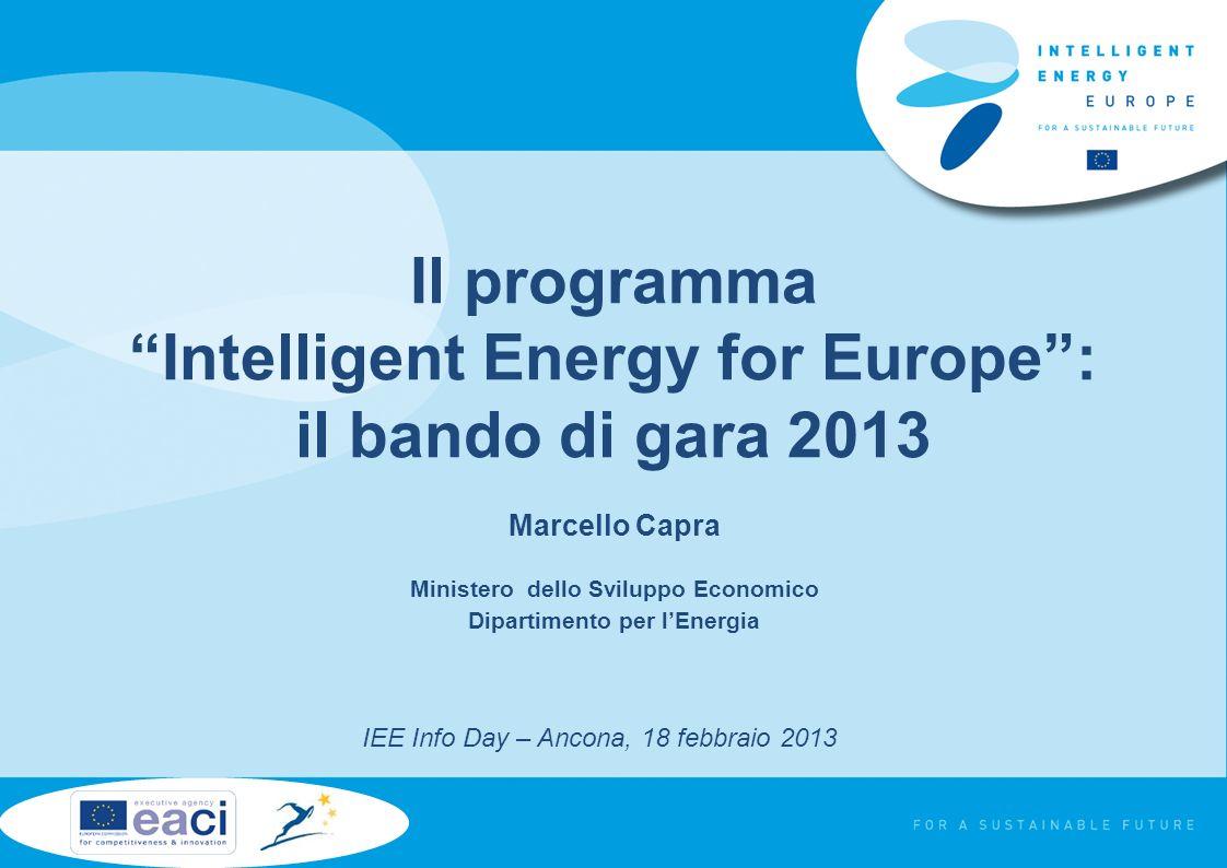 Il programma Intelligent Energy for Europe: il bando di gara 2013 Marcello Capra Ministero dello Sviluppo Economico Dipartimento per lEnergia IEE Info Day – Ancona, 18 febbraio 2013