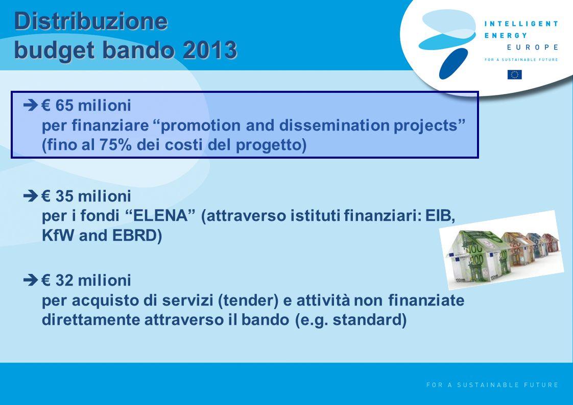 Distribuzione budget bando 2013 65 milioni per finanziare promotion and dissemination projects (fino al 75% dei costi del progetto) 35 milioni per i fondi ELENA (attraverso istituti finanziari: EIB, KfW and EBRD) 32 milioni per acquisto di servizi (tender) e attività non finanziate direttamente attraverso il bando (e.g.