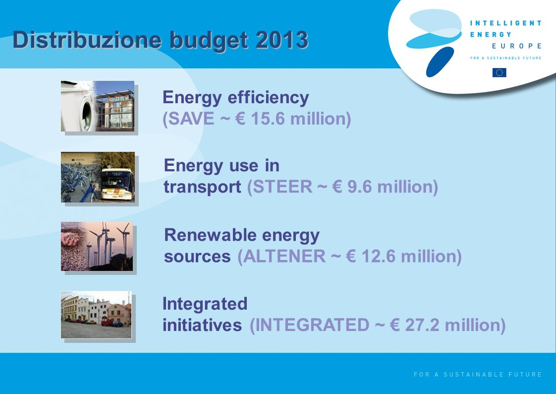 Distribuzione budget 2013 Energy efficiency (SAVE ~ 15.6 million) Energy use in transport (STEER ~ 9.6 million) Renewable energy sources (ALTENER ~ 12.6 million) Integrated initiatives (INTEGRATED ~ 27.2 million)