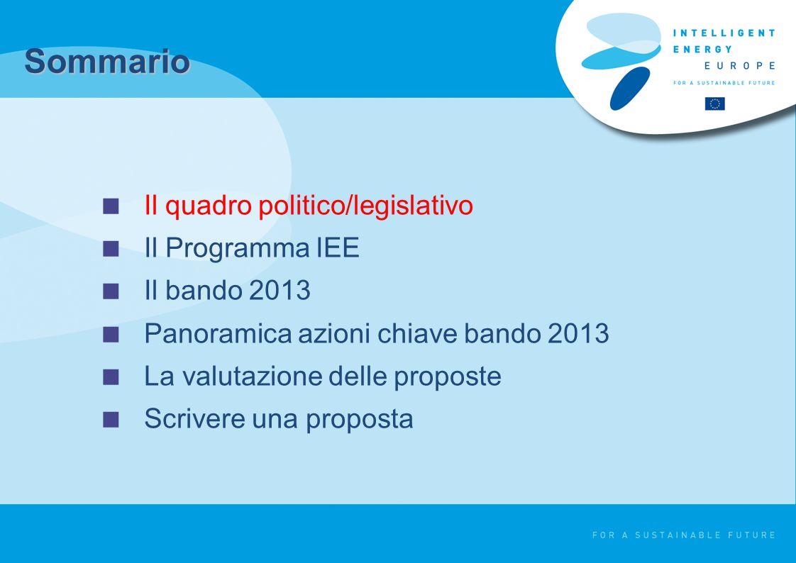 Il quadro politico/legislativo Il Programma IEE Il bando 2013 Panoramica azioni chiave bando 2013 La valutazione delle proposte Scrivere una proposta Sommario