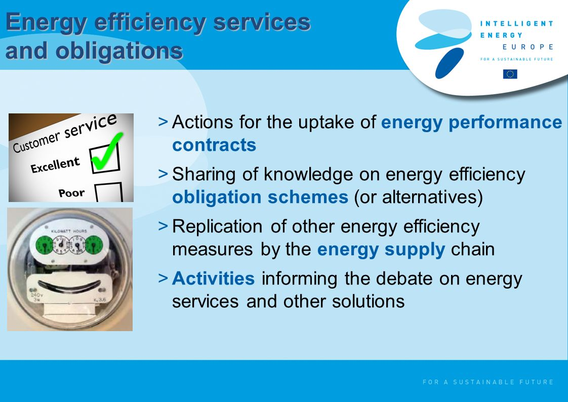 Energy efficiency services and obligations >Actions for the uptake of energy performance contracts >Sharing of knowledge on energy efficiency obligation schemes (or alternatives) >Replication of other energy efficiency measures by the energy supply chain >Activities informing the debate on energy services and other solutions