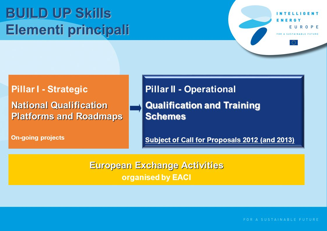 BUILD UP Skills Elementi principali Pillar I - Strategic National Qualification Platforms and Roadmaps On-going projects Pillar II - Operational Qualification and Training Schemes Subject of Call for Proposals 2012 (and 2013) European Exchange Activities organised by EACI