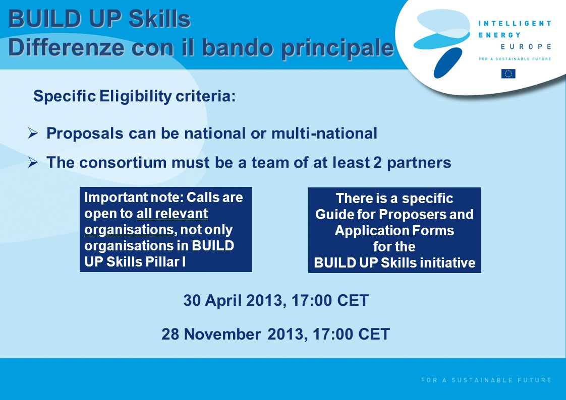 BUILD UP Skills Differenze con il bando principale Proposals can be national or multi-national The consortium must be a team of at least 2 partners Specific Eligibility criteria: Important note: Calls are open to all relevant organisations, not only organisations in BUILD UP Skills Pillar I There is a specific Guide for Proposers and Application Forms for the BUILD UP Skills initiative 30 April 2013, 17:00 CET 28 November 2013, 17:00 CET