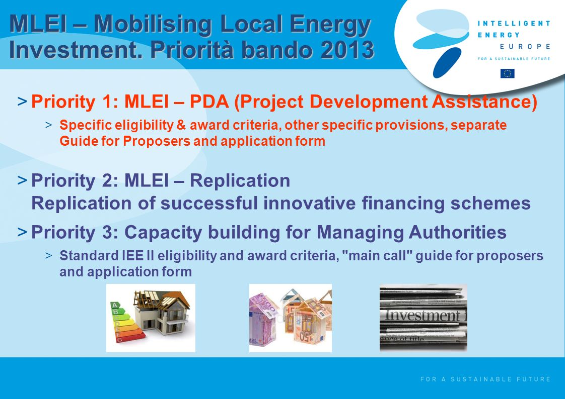 MLEI – Mobilising Local Energy Investment. Priorità bando 2013 >Priority 1: MLEI – PDA (Project Development Assistance) >Specific eligibility & award