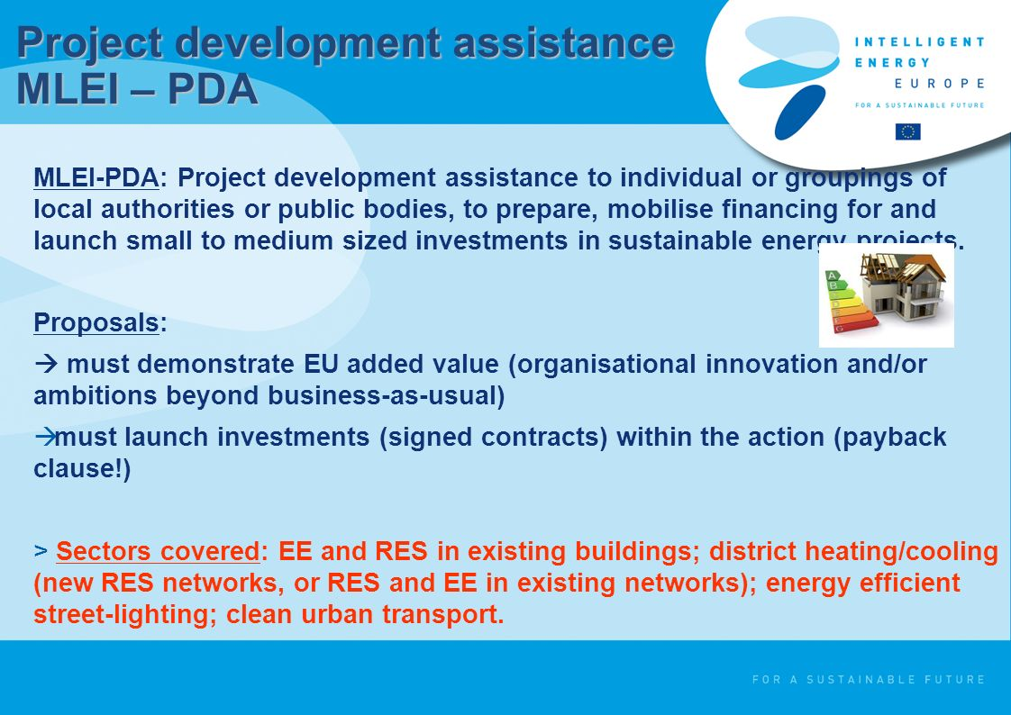 MLEI-PDA: Project development assistance to individual or groupings of local authorities or public bodies, to prepare, mobilise financing for and laun