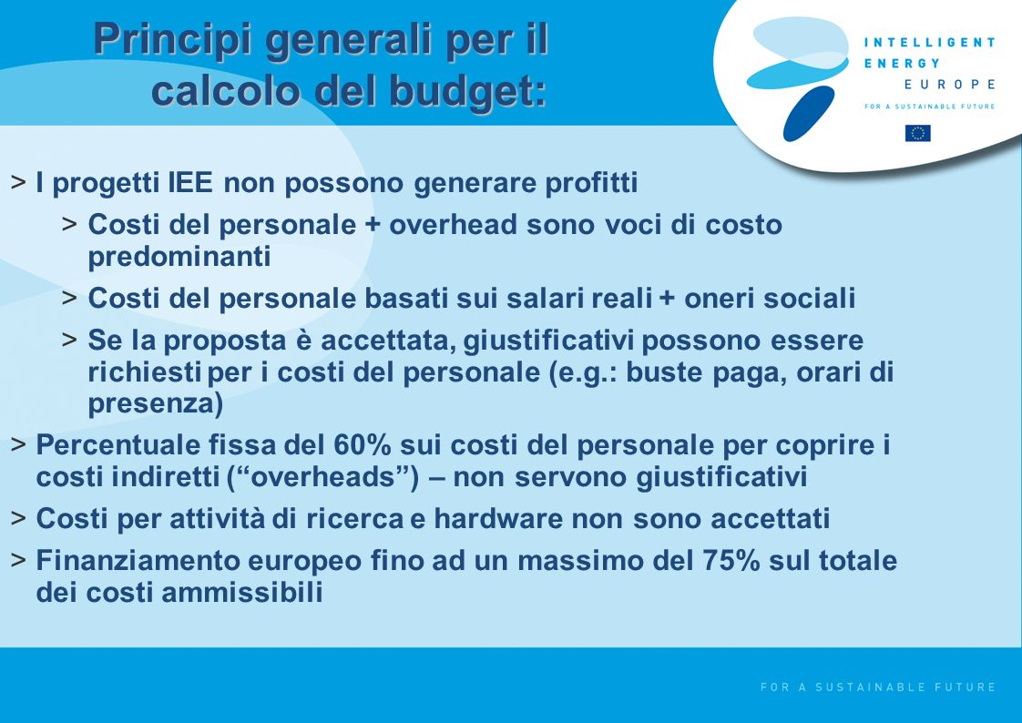 Principi generali per il calcolo del budget: >I progetti IEE non possono generare profitti >Costi del personale + overhead sono voci di costo predominanti >Costi del personale basati sui salari reali + oneri sociali >Se la proposta è accettata, giustificativi possono essere richiesti per i costi del personale (e.g.: buste paga, orari di presenza) >Percentuale fissa del 60% sui costi del personale per coprire i costi indiretti (overheads) – non servono giustificativi >Costi per attività di ricerca e hardware non sono accettati >Finanziamento europeo fino ad un massimo del 75% sul totale dei costi ammissibili