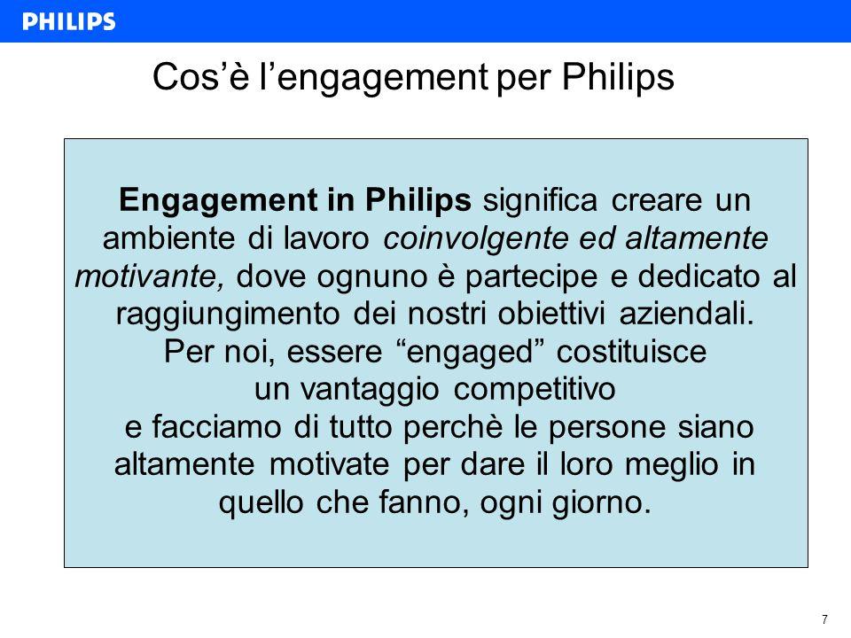 7 Cosè lengagement per Philips Engagement in Philips significa creare un ambiente di lavoro coinvolgente ed altamente motivante, dove ognuno è partecipe e dedicato al raggiungimento dei nostri obiettivi aziendali.