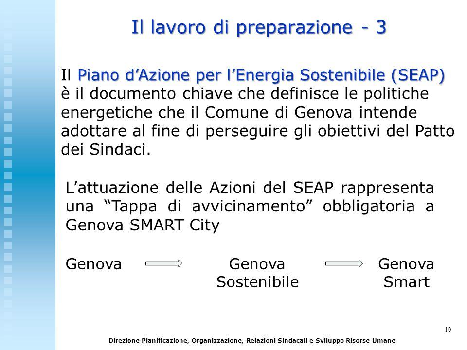 10 Direzione Pianificazione, Organizzazione, Relazioni Sindacali e Sviluppo Risorse Umane Il lavoro di preparazione - 3 Piano dAzione per lEnergia Sos
