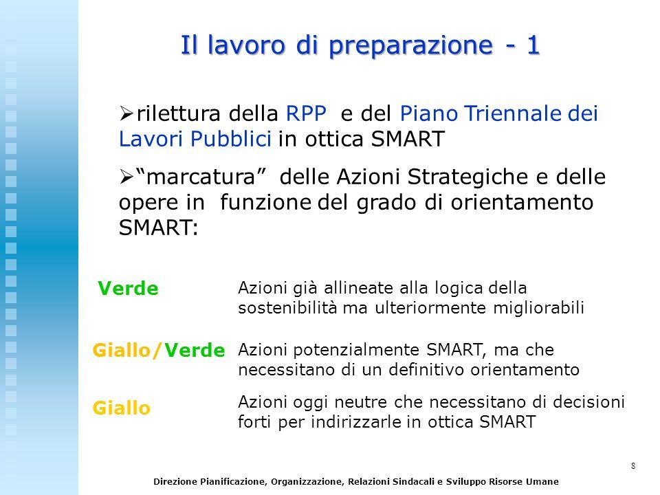 8 Direzione Pianificazione, Organizzazione, Relazioni Sindacali e Sviluppo Risorse Umane Il lavoro di preparazione - 1 rilettura della RPP e del Piano