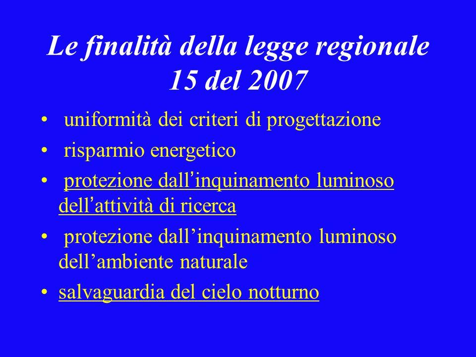 Le finalità della legge regionale 15 del 2007 uniformità dei criteri di progettazione risparmio energetico protezione dall inquinamento luminoso dell attività di ricerca protezione dallinquinamento luminoso dellambiente naturale salvaguardia del cielo notturno