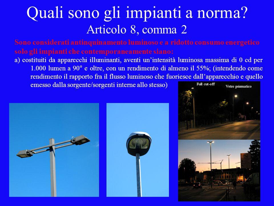 Articolo 8, comma 2 Sono considerati antinquinamento luminoso e a ridotto consumo energetico solo gli impianti che contemporaneamente siano: a) costituiti da apparecchi illuminanti, aventi unintensità luminosa massima di 0 cd per 1.000 lumen a 90° e oltre, con un rendimento di almeno il 55%; (intendendo come rendimento il rapporto fra il flusso luminoso che fuoriesce dallapparecchio e quello emesso dalla sorgente/sorgenti interne allo stesso) Full cut-off Vetro prismatico Quali sono gli impianti a norma?