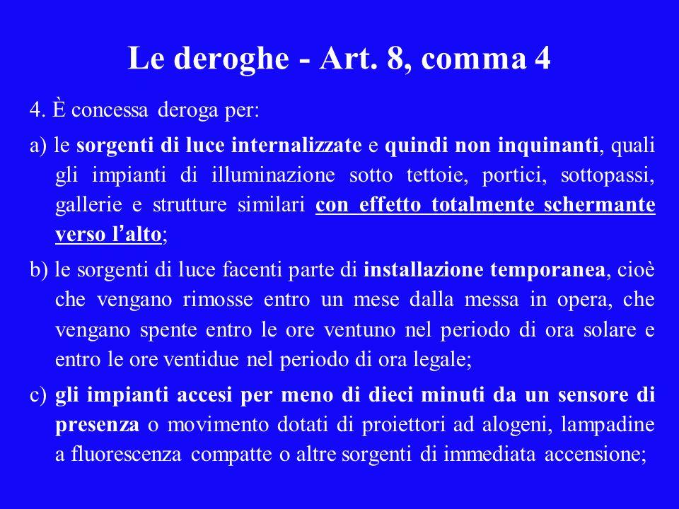 Le deroghe - Art.8, comma 4 4.