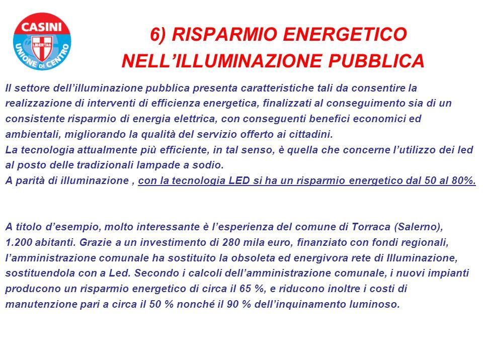 6) RISPARMIO ENERGETICO NELLILLUMINAZIONE PUBBLICA Il settore dellilluminazione pubblica presenta caratteristiche tali da consentire la realizzazione