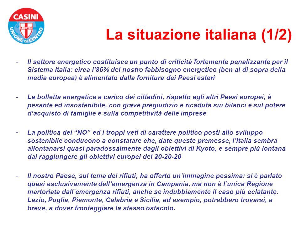 La situazione italiana (1/2) -Il settore energetico costituisce un punto di criticità fortemente penalizzante per il Sistema Italia: circa l85% del no