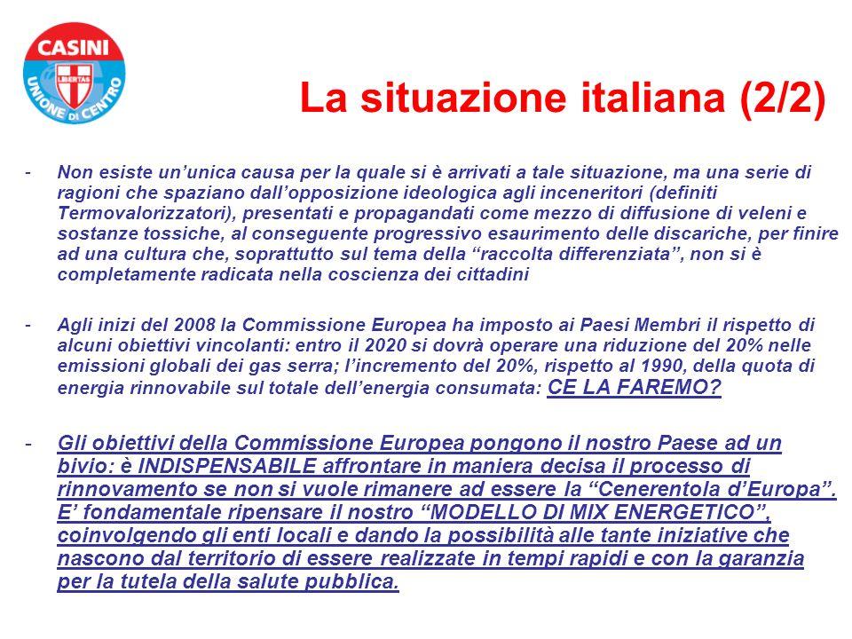 La situazione italiana (2/2) -Non esiste ununica causa per la quale si è arrivati a tale situazione, ma una serie di ragioni che spaziano dallopposizi