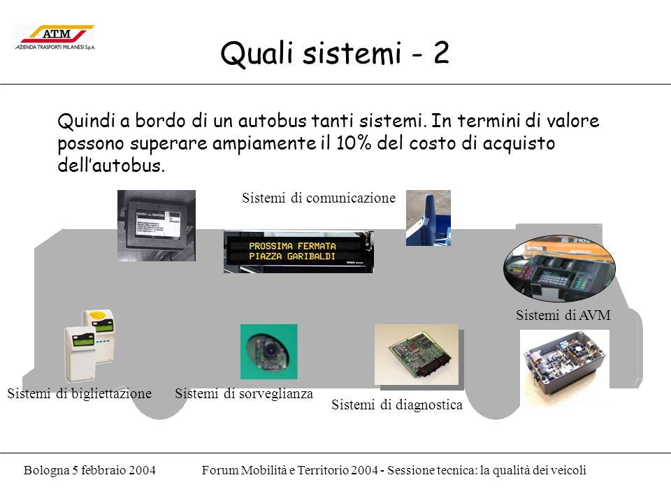 Bologna 5 febbraio 2004Forum Mobilità e Territorio 2004 - Sessione tecnica: la qualità dei veicoli Quali sistemi - 2 Quindi a bordo di un autobus tanti sistemi.