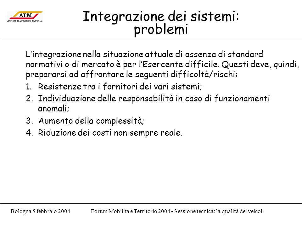 Bologna 5 febbraio 2004Forum Mobilità e Territorio 2004 - Sessione tecnica: la qualità dei veicoli Integrazione dei sistemi: problemi Lintegrazione nella situazione attuale di assenza di standard normativi o di mercato è per lEsercente difficile.