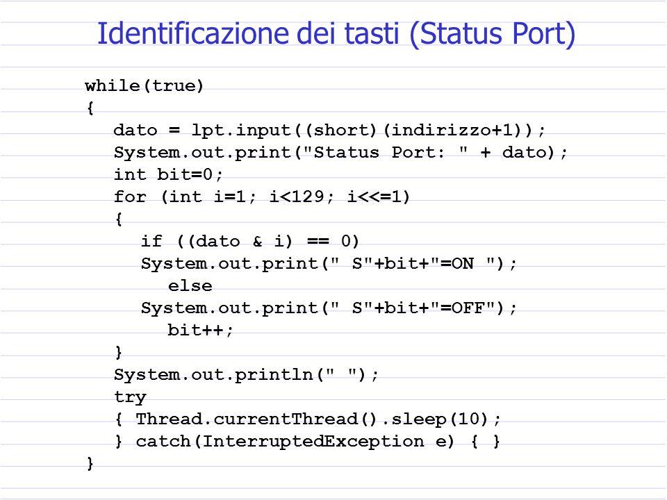 public static void main ( String args[] ) { lpt = new pPort(); // istanza di una nuova porta indirizzo=0x378; // indirizzo Data Port LPT1 dato=0x77; // un dato qualsiasi System.out.println( Dato emesso: + dato); lpt.output(indirizzo,i); } Accensione dei LED (Data Port)