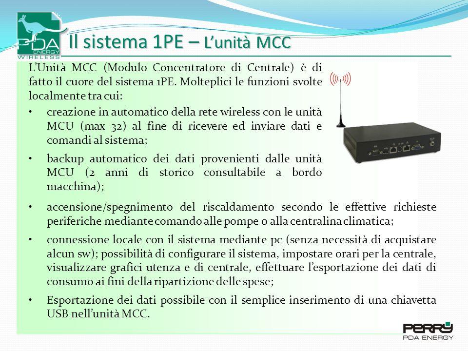 Il sistema 1PE – Lunità MCC LUnità MCC (Modulo Concentratore di Centrale) è di fatto il cuore del sistema 1PE.
