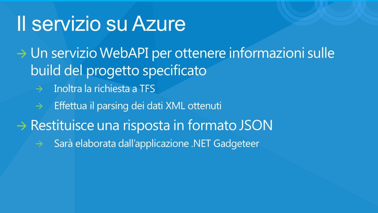 Il servizio su Azure Un servizio WebAPI per ottenere informazioni sulle build del progetto specificato Inoltra la richiesta a TFS Effettua il parsing dei dati XML ottenuti Restituisce una risposta in formato JSON Sarà elaborata dallapplicazione.NET Gadgeteer
