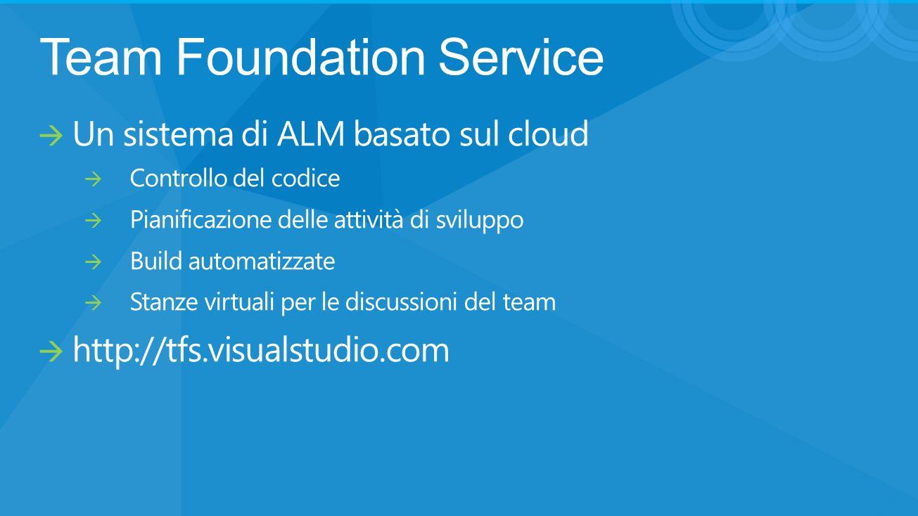 Team Foundation Service Un sistema di ALM basato sul cloud Controllo del codice Pianificazione delle attività di sviluppo Build automatizzate Stanze virtuali per le discussioni del team http://tfs.visualstudio.com