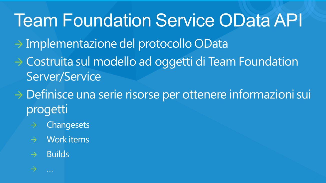 Team Foundation Service OData API Implementazione del protocollo OData Costruita sul modello ad oggetti di Team Foundation Server/Service Definisce una serie risorse per ottenere informazioni sui progetti Changesets Work items Builds …