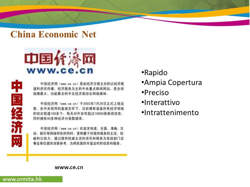 www.ormita.hk Sina.com.cn Uno dei più grandi portali cinesi Possibilità di pubblicità sulla Homepage: Specifico per le diverse provincie e regioni Può essere selezionata la regione Aumenta la clientela con maggiore efficacia Fujian Sina Shanghai Sina