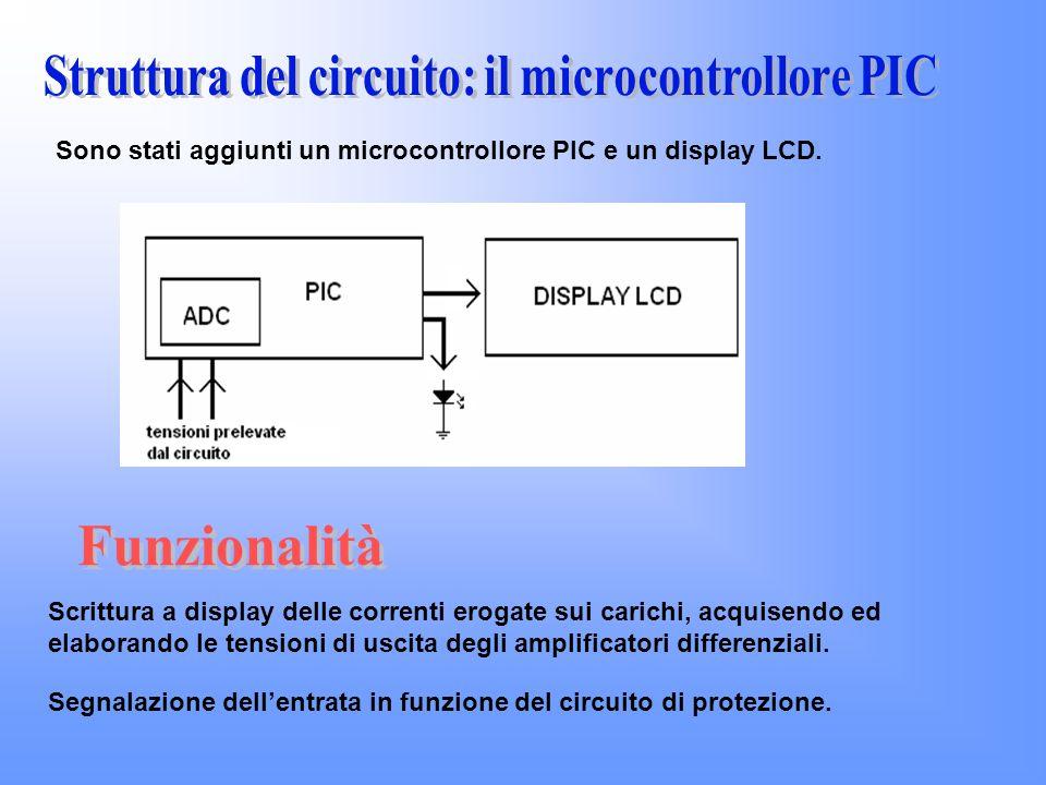 Segnalazione dellentrata in funzione del circuito di protezione. Scrittura a display delle correnti erogate sui carichi, acquisendo ed elaborando le t