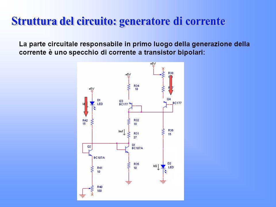 La parte circuitale responsabile in primo luogo della generazione della corrente è uno specchio di corrente a transistor bipolari: