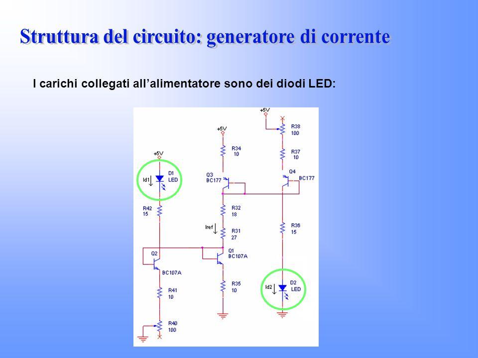 I carichi collegati allalimentatore sono dei diodi LED: