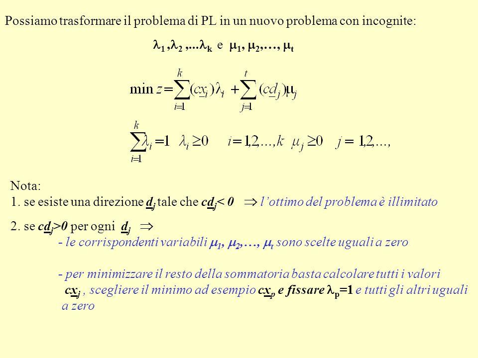 Possiamo trasformare il problema di PL in un nuovo problema con incognite: 1, 2,... k e 1, 2,…, t Nota: 1. se esiste una direzione d j tale che cd j <