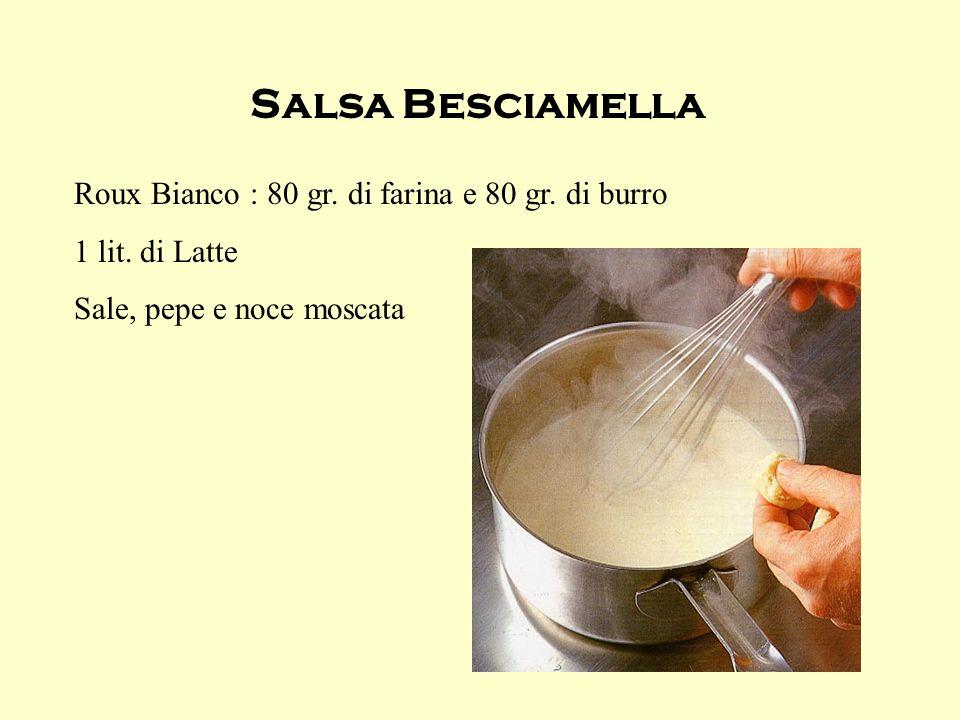 Salsa Besciamella Roux Bianco : 80 gr. di farina e 80 gr. di burro 1 lit. di Latte Sale, pepe e noce moscata