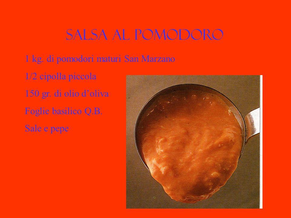Salsa al pomodoro 1 kg. di pomodori maturi San Marzano 1/2 cipolla piccola 150 gr. di olio doliva Foglie basilico Q.B. Sale e pepe