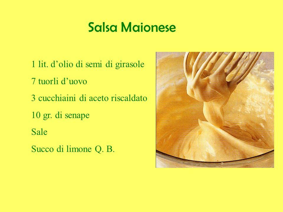 Salsa Maionese 1 lit. dolio di semi di girasole 7 tuorli duovo 3 cucchiaini di aceto riscaldato 10 gr. di senape Sale Succo di limone Q. B.