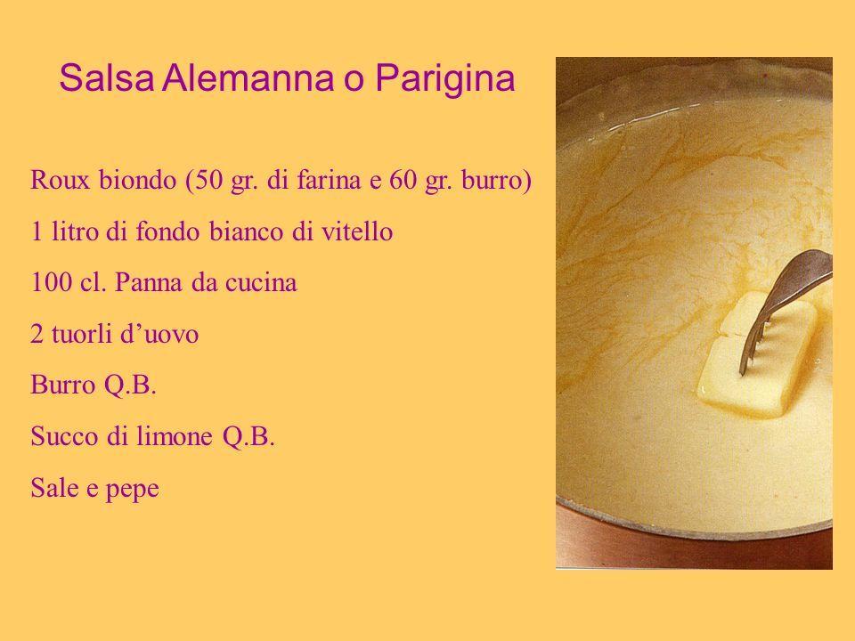 Salsa Alemanna o Parigina Roux biondo (50 gr. di farina e 60 gr. burro) 1 litro di fondo bianco di vitello 100 cl. Panna da cucina 2 tuorli duovo Burr
