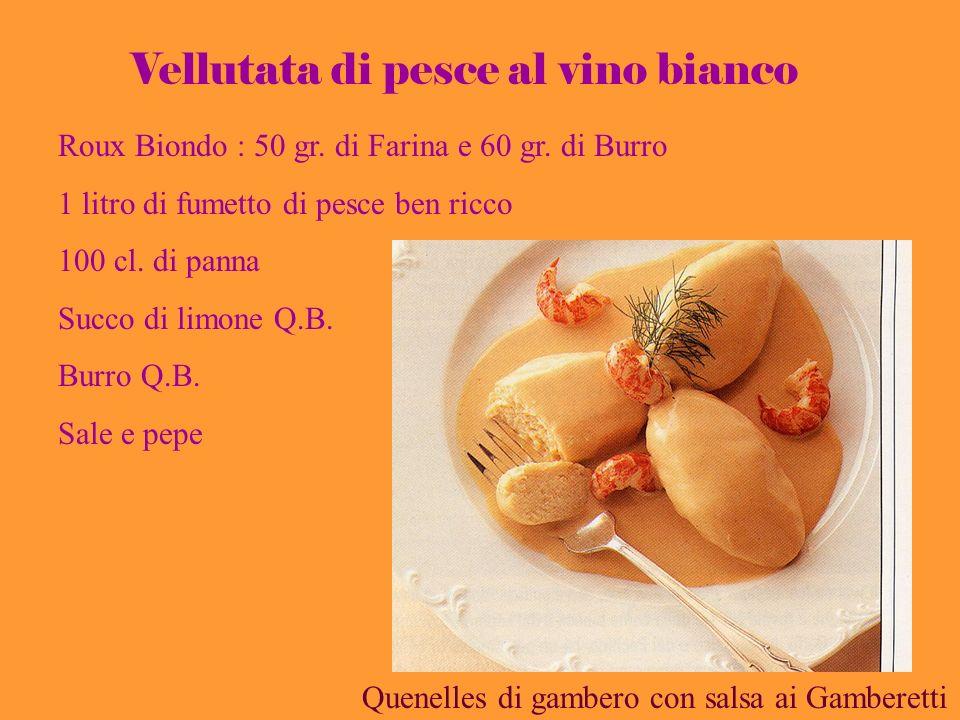 Roux Biondo : 50 gr. di Farina e 60 gr. di Burro 1 litro di fumetto di pesce ben ricco 100 cl. di panna Succo di limone Q.B. Burro Q.B. Sale e pepe Ve