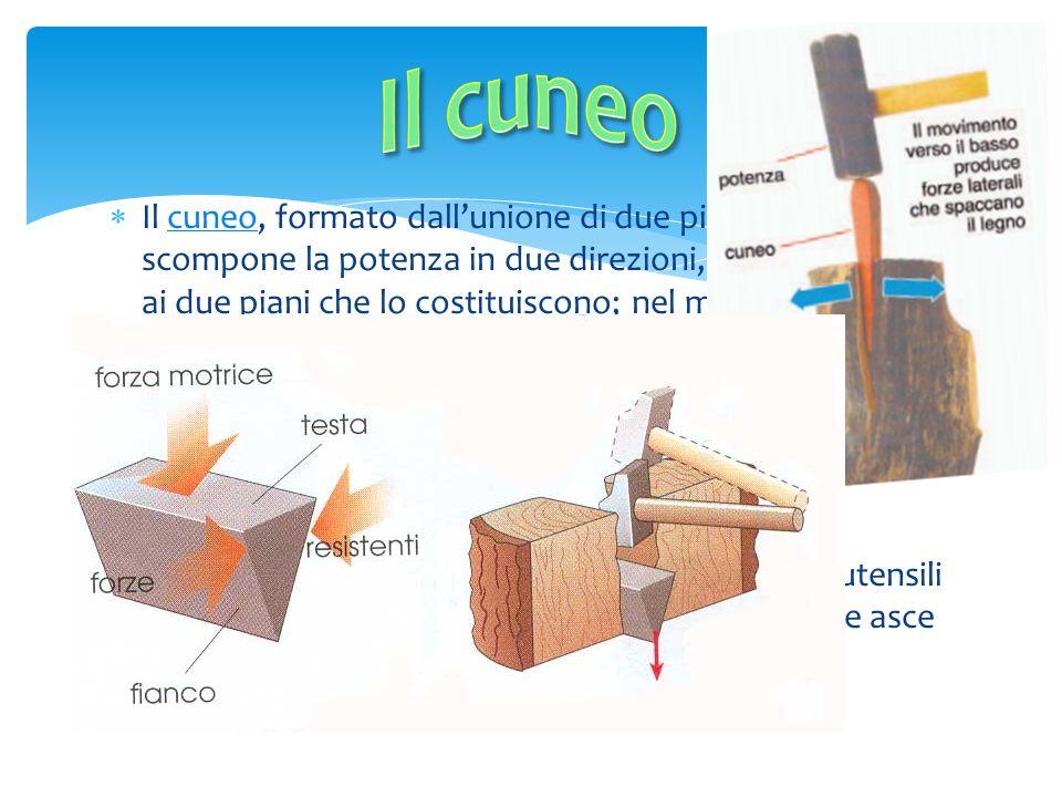 Il cuneo, formato dallunione di due piani inclinati, scompone la potenza in due direzioni, perpendicolari ai due piani che lo costituiscono; nel mater