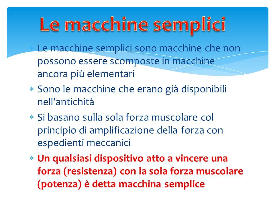 L e macchine semplici sono macchine che non possono essere scomposte in macchine ancora più elementari S ono le macchine che erano già disponibili nel