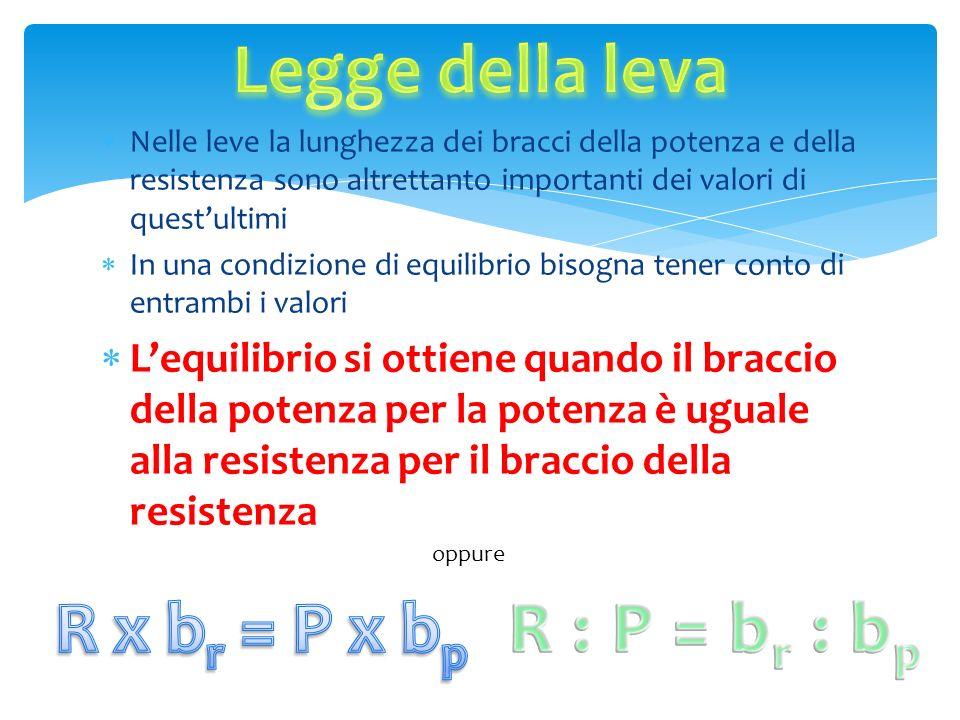 N elle leve la lunghezza dei bracci della potenza e della resistenza sono altrettanto importanti dei valori di questultimi I n una condizione di equil