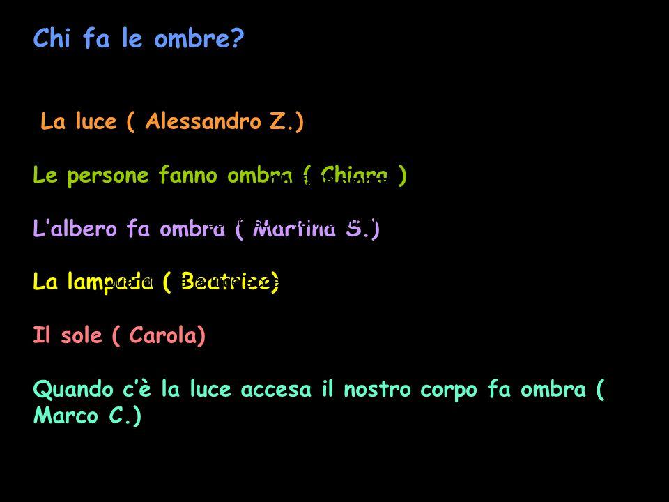Chi fa le ombre? La luce ( Alessandro Z.) Le persone fanno ombra ( Chiara ) Lalbero fa ombra ( Martina S.) La lampada ( Beatrice) Il sole ( Carola) Qu