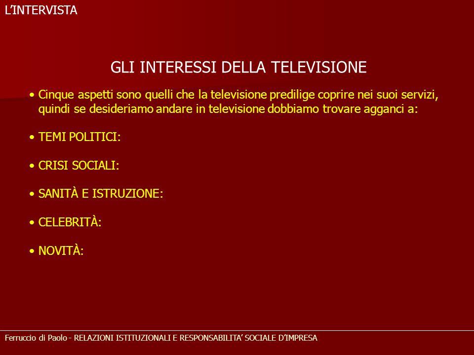 GLI INTERESSI DELLA TELEVISIONE Cinque aspetti sono quelli che la televisione predilige coprire nei suoi servizi, quindi se desideriamo andare in tele