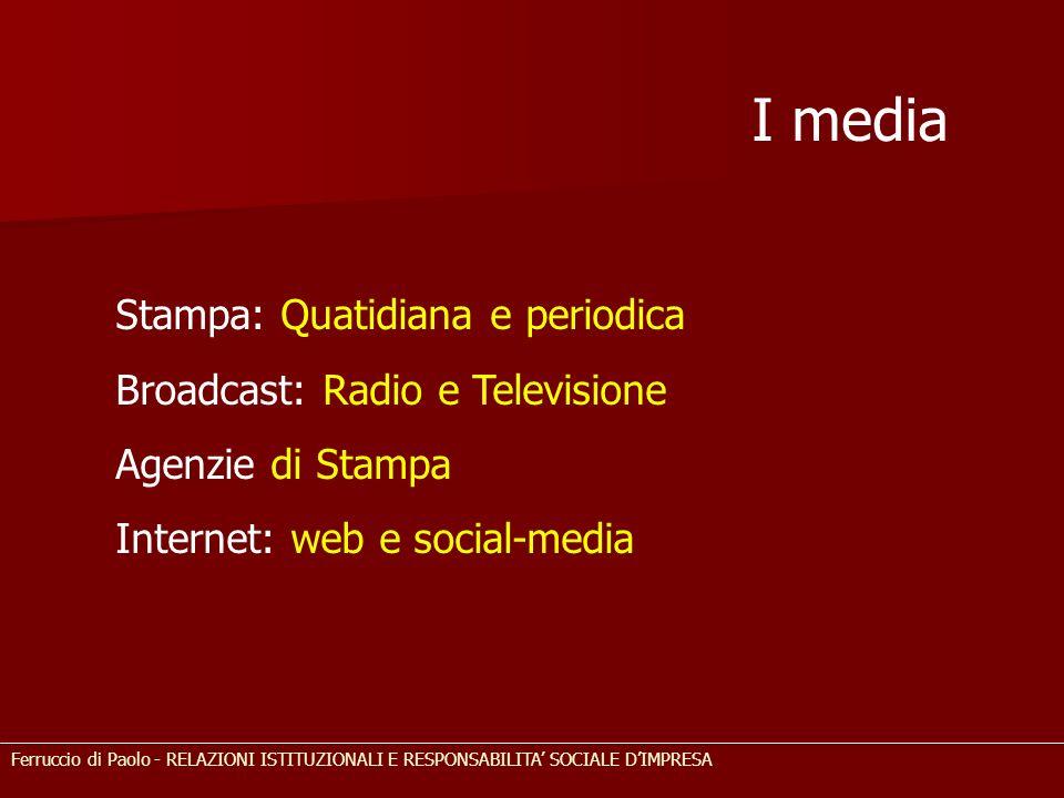 I media Stampa: Quatidiana e periodica Broadcast: Radio e Televisione Agenzie di Stampa Internet: web e social-media Ferruccio di Paolo - RELAZIONI IS